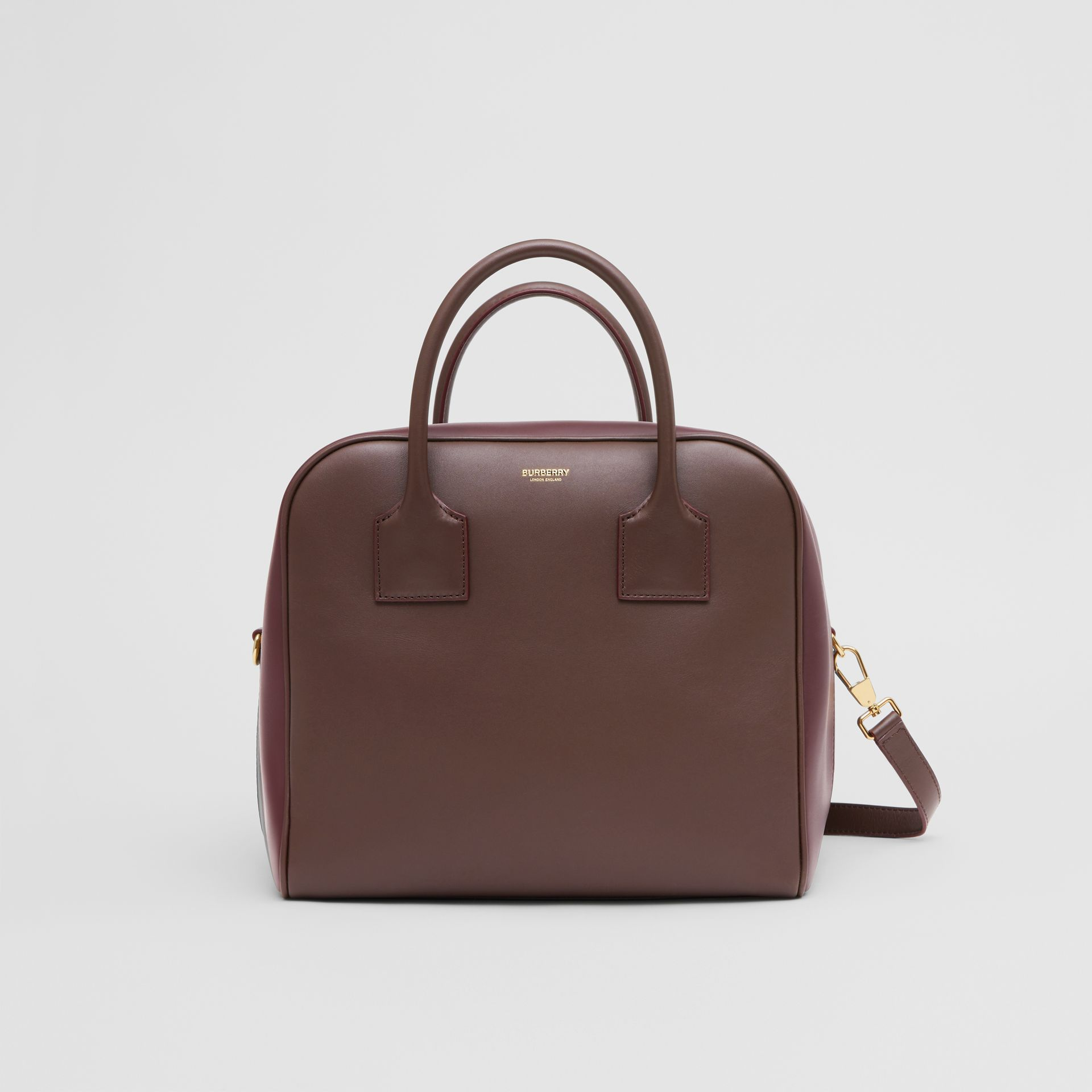 Medium Leather and Suede Cube Bag in Mahogany - Women | Burberry - gallery image 0