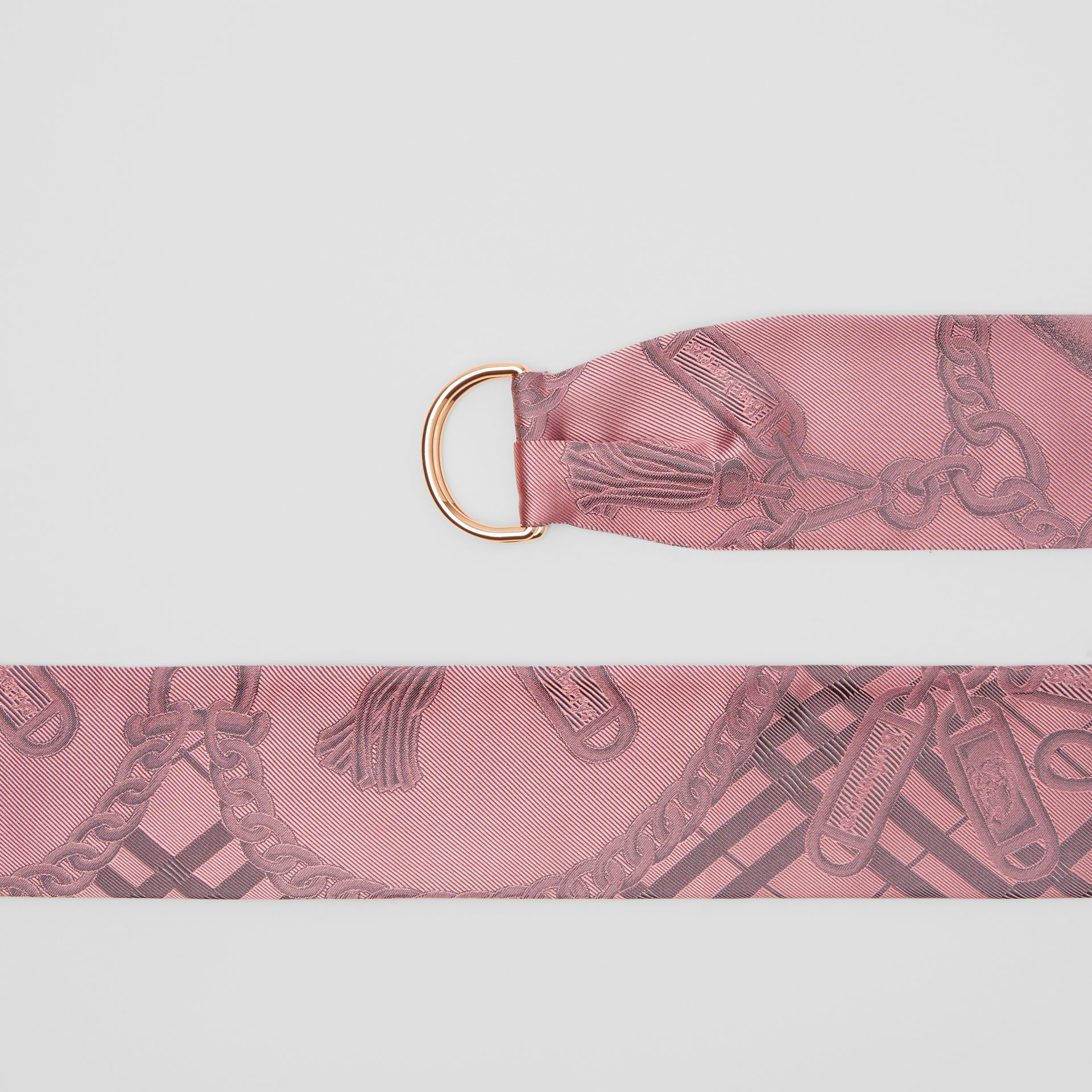D-ring Detail Chain Silk Jacquard Skinny Scarf in Pale Rose | Burberry - gallery image 1