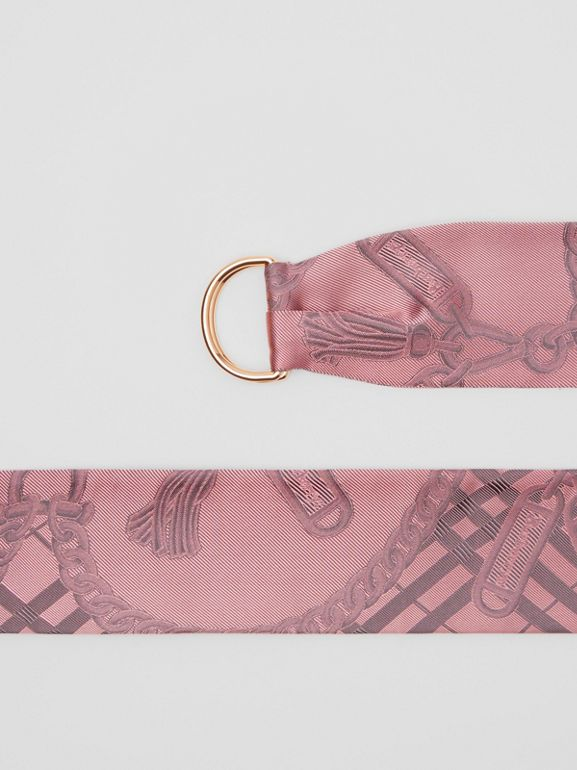 D-ring Detail Chain Silk Jacquard Skinny Scarf in Pale Rose | Burberry - cell image 1