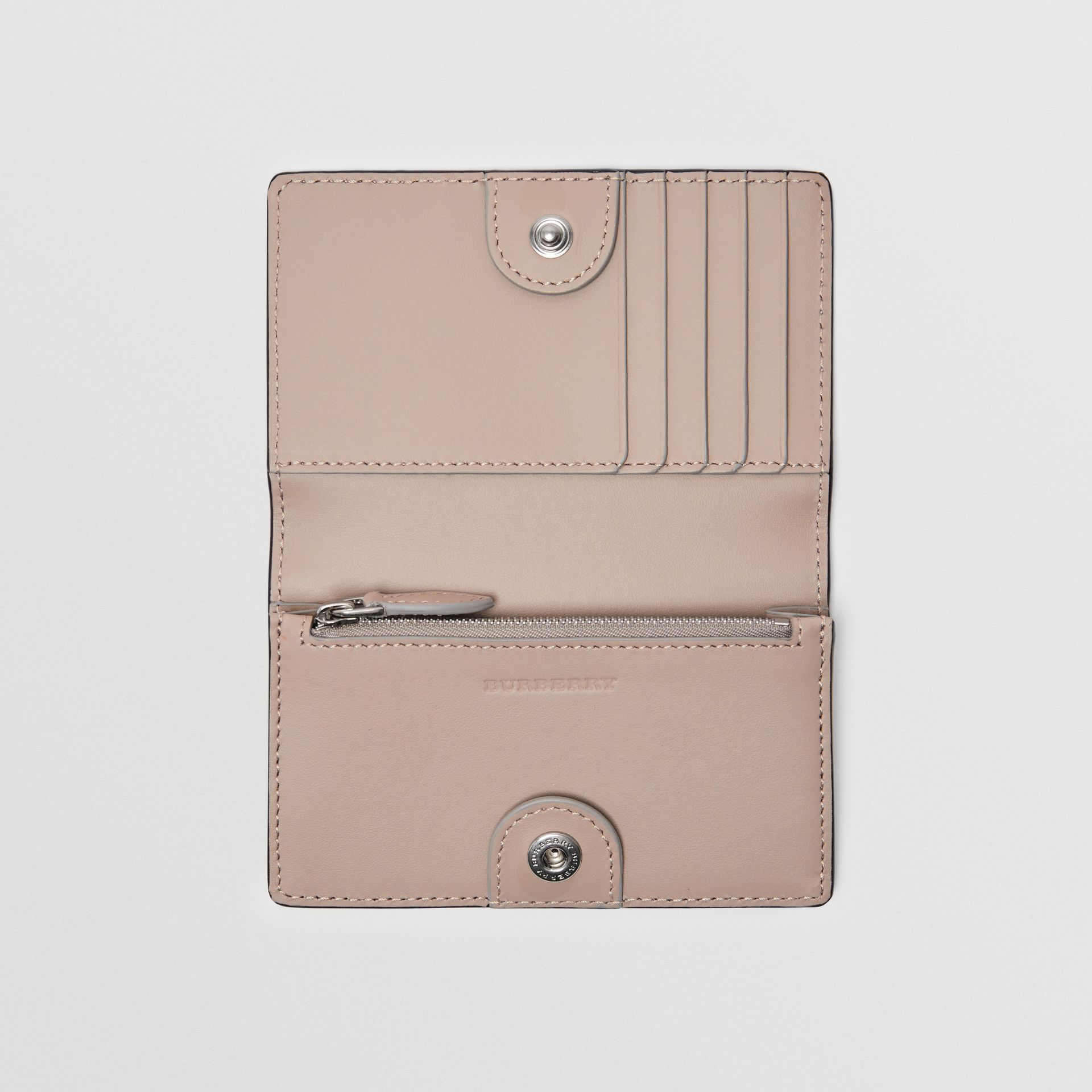 Small Embossed Crest Two-tone Leather Wallet in Chalk Pink - Women | Burberry Australia - gallery image 2
