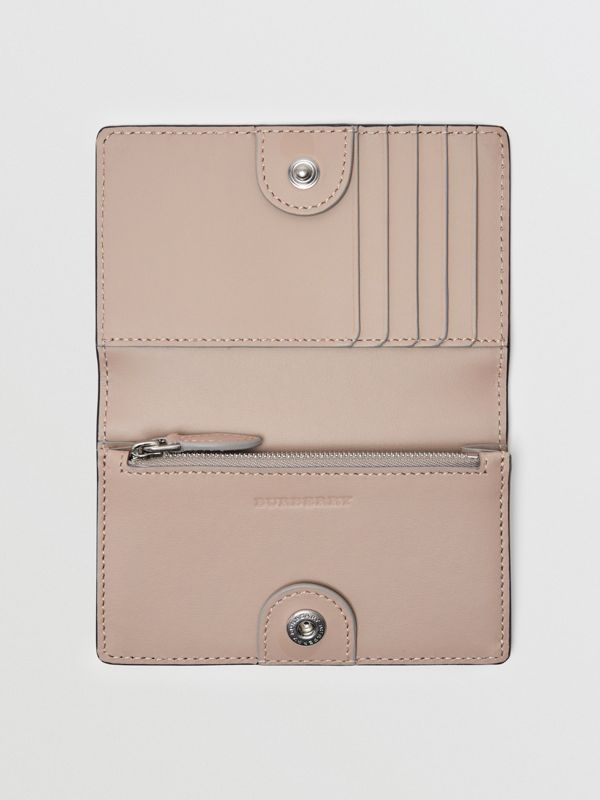 Small Embossed Crest Two-tone Leather Wallet in Chalk Pink - Women | Burberry Australia - cell image 2