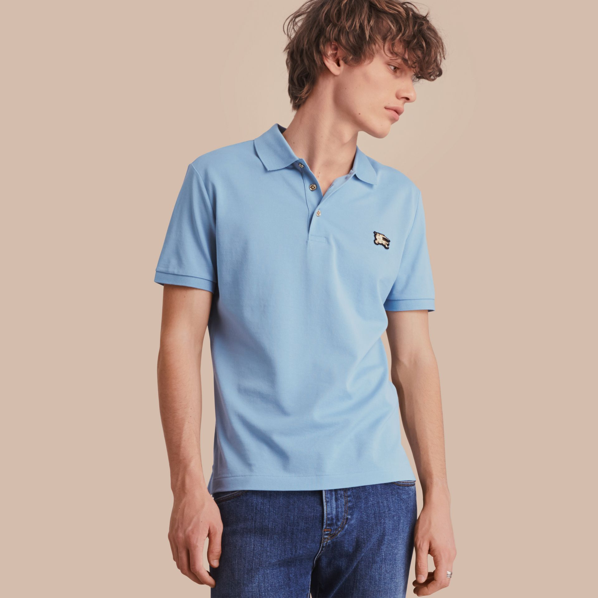Fitted Mercerised Cotton-Piqué Polo Shirt Powder Blue - gallery image 1
