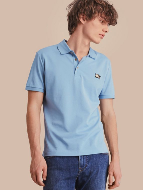 Fitted Mercerised Cotton-Piqué Polo Shirt Powder Blue
