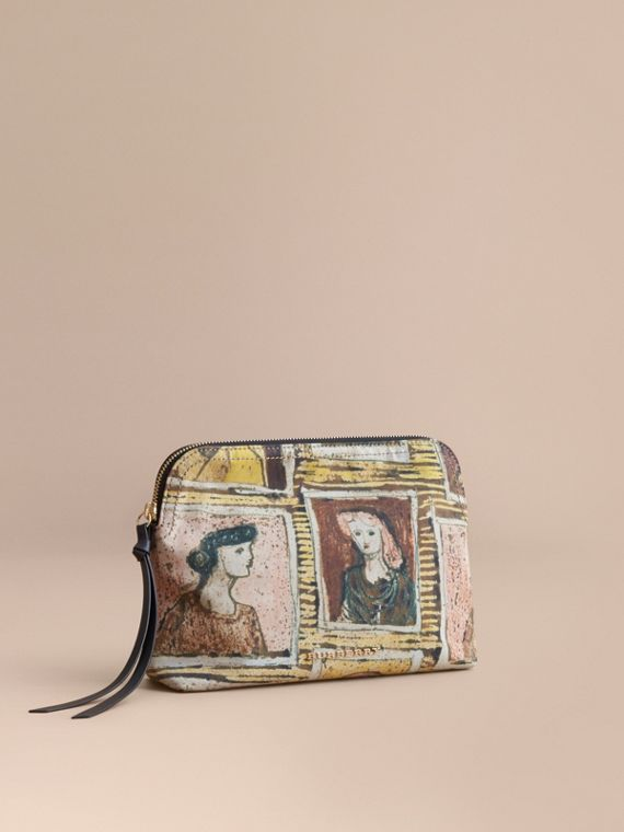 Large Zip-top Framed Heads Print Pouch in Umber Brown