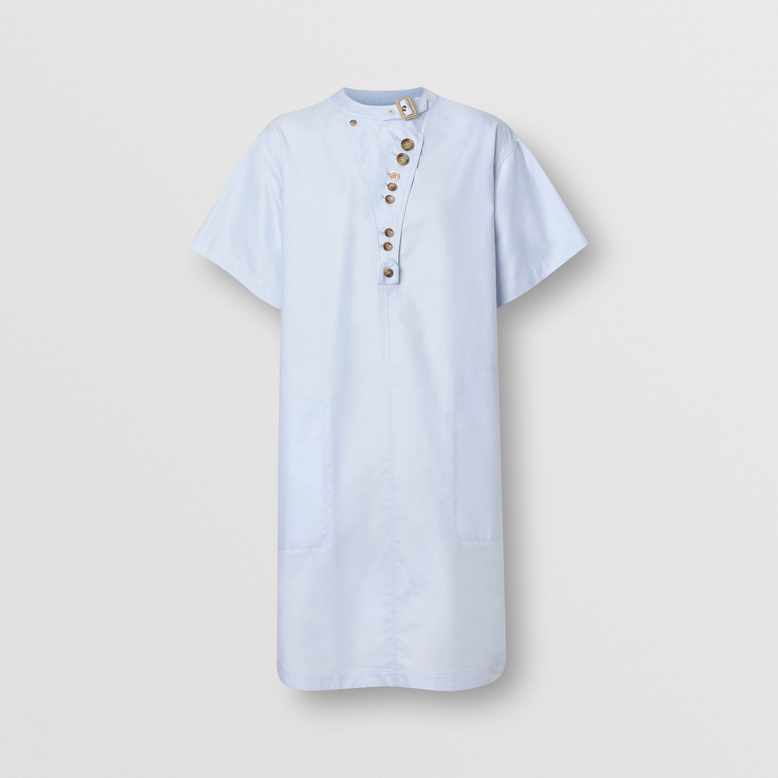 Short-sleeve Cotton Oxford Smock Dress in Pale Blue - Women | Burberry - 4