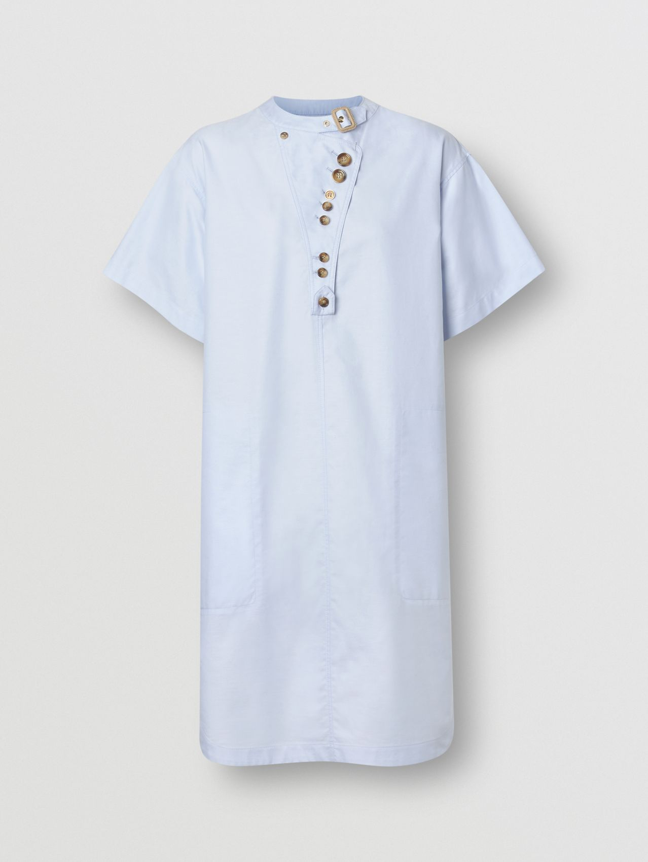 Short-sleeve Cotton Oxford Smock Dress in Pale Blue