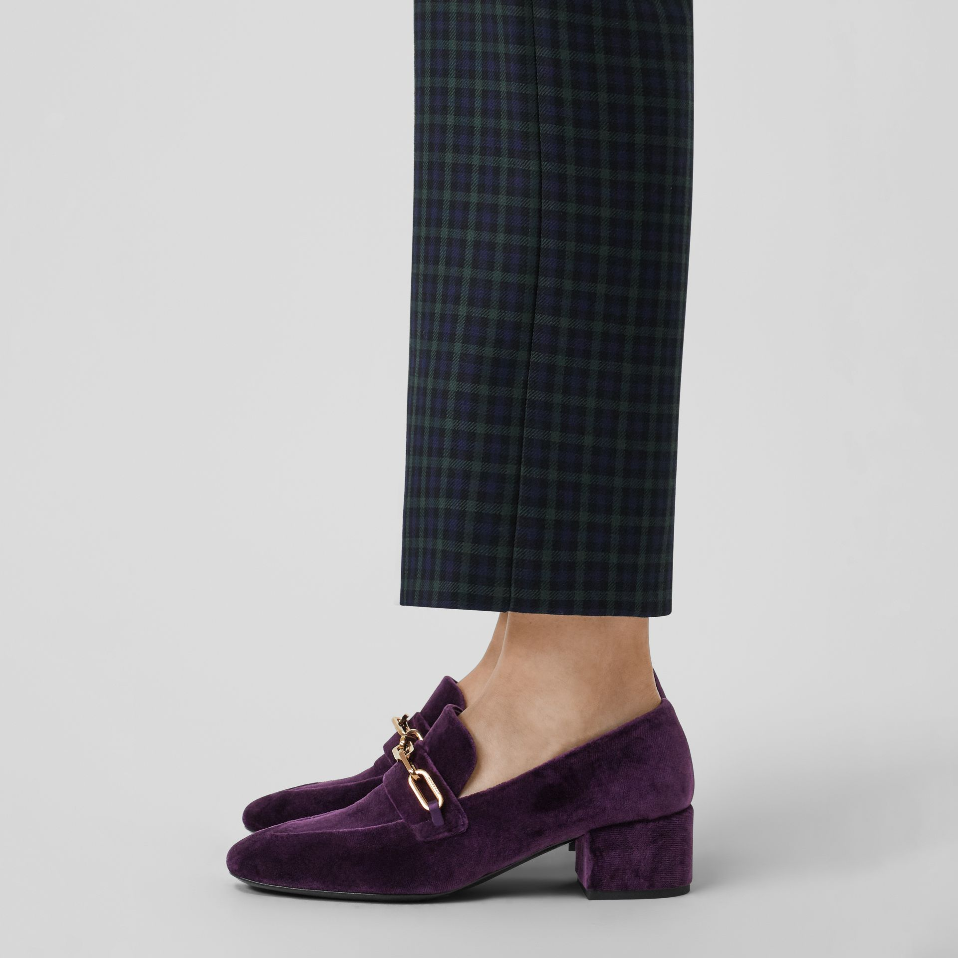Link Detail Velvet Block-heel Loafers in Dark Elderberry - Women | Burberry - gallery image 2