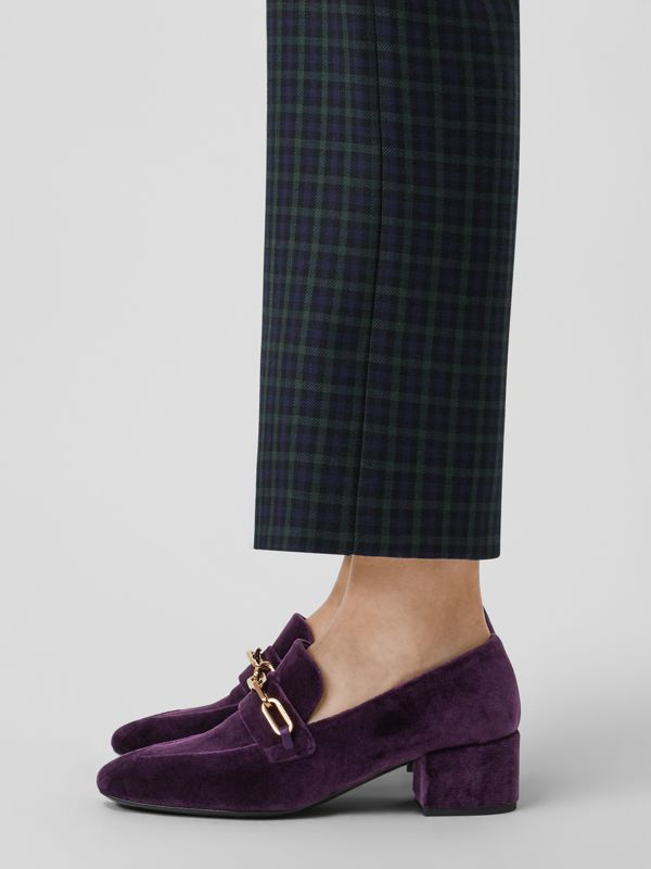 Link Detail Velvet Block-heel Loafers in Dark Elderberry - Women | Burberry - cell image 2