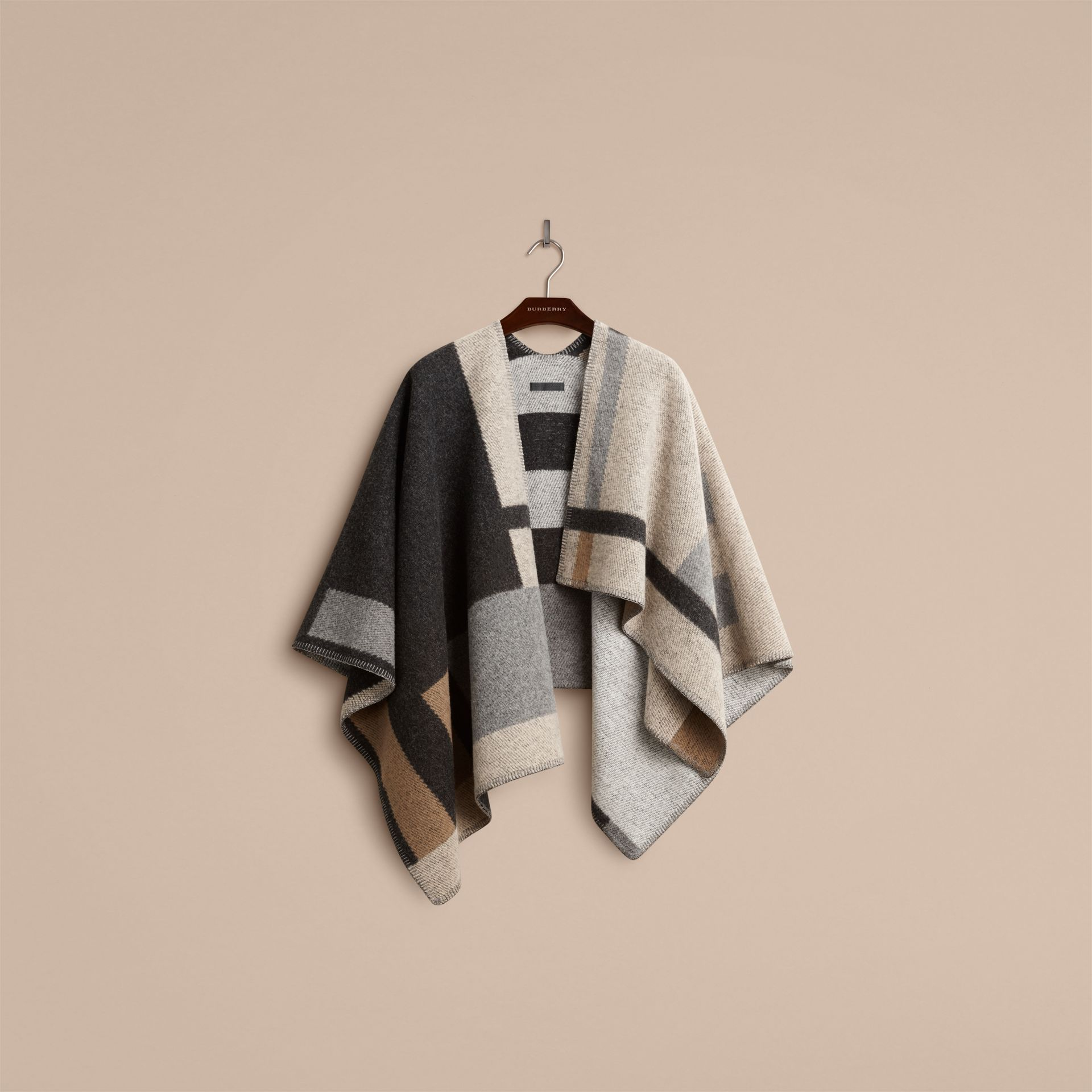 Pale camel Check Wool and Cashmere Blanket Poncho - gallery image 3
