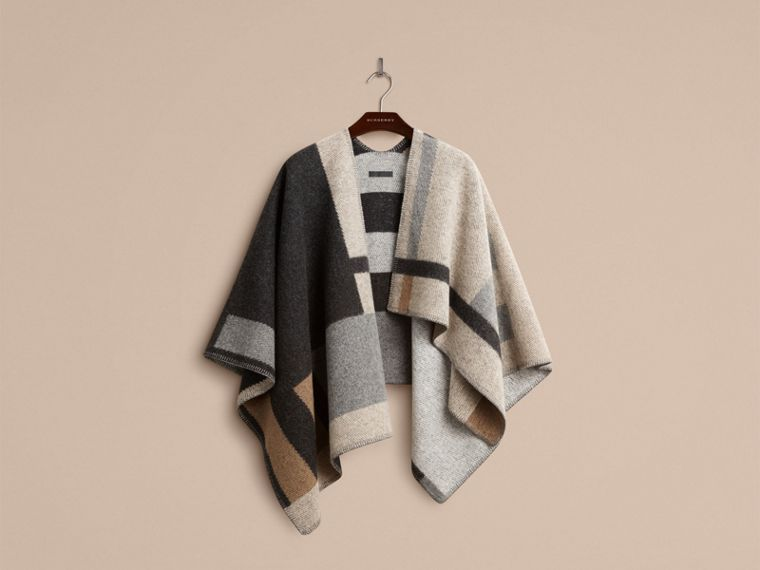 Pale camel Check Wool and Cashmere Blanket Poncho - cell image 2