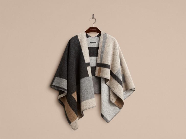 Camelo claro Poncho-manta xadrez em lã e cashmere - cell image 2