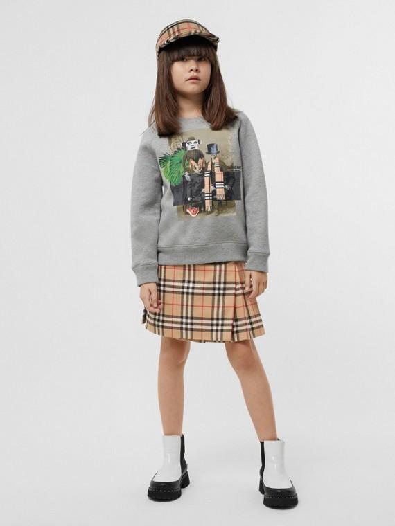 Sweatshirt aus einer Baumwollmischung mit Druckmotiven (Grau Meliert)