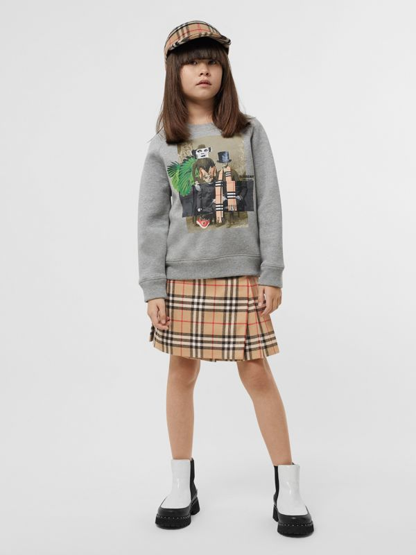 Collage Print Cotton Blend Sweatshirt in Grey Melange | Burberry - cell image 2
