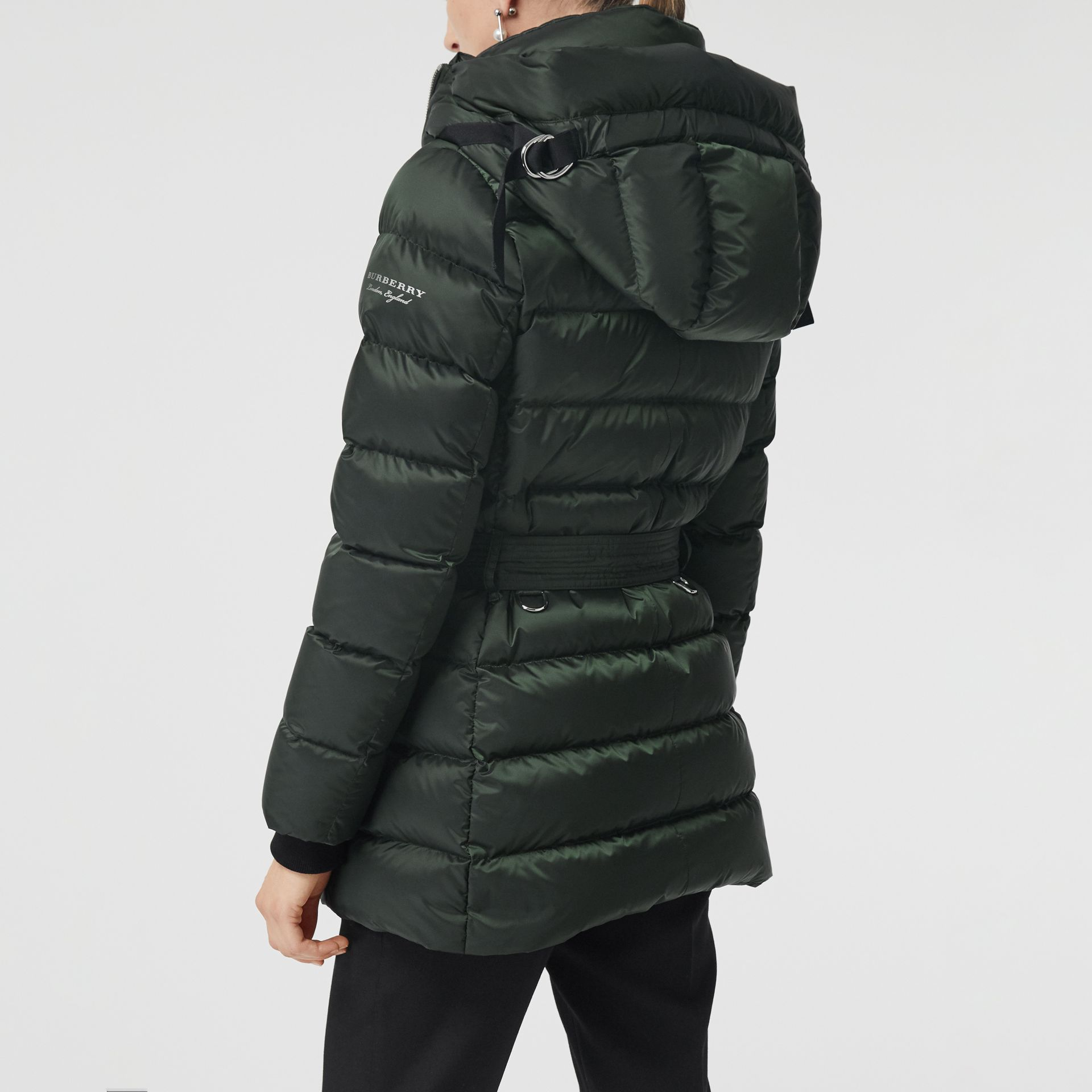 Down-filled Hooded Puffer Coat in Dark Racing Green - Women | Burberry - gallery image 2