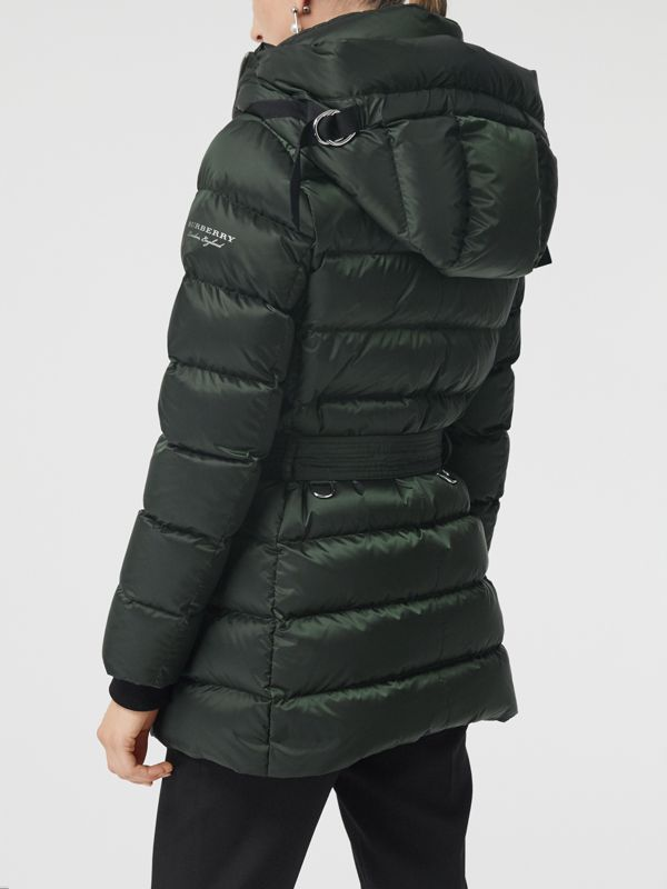 Down-filled Hooded Puffer Coat in Dark Racing Green - Women | Burberry - cell image 2