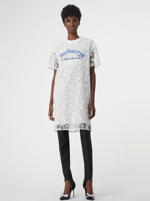 Embroidered Archive Logo Lace Dress in Natural White