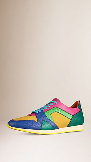 The Field Sneaker in Colour Block Leather and Mesh Bright Regency Blue/yellow