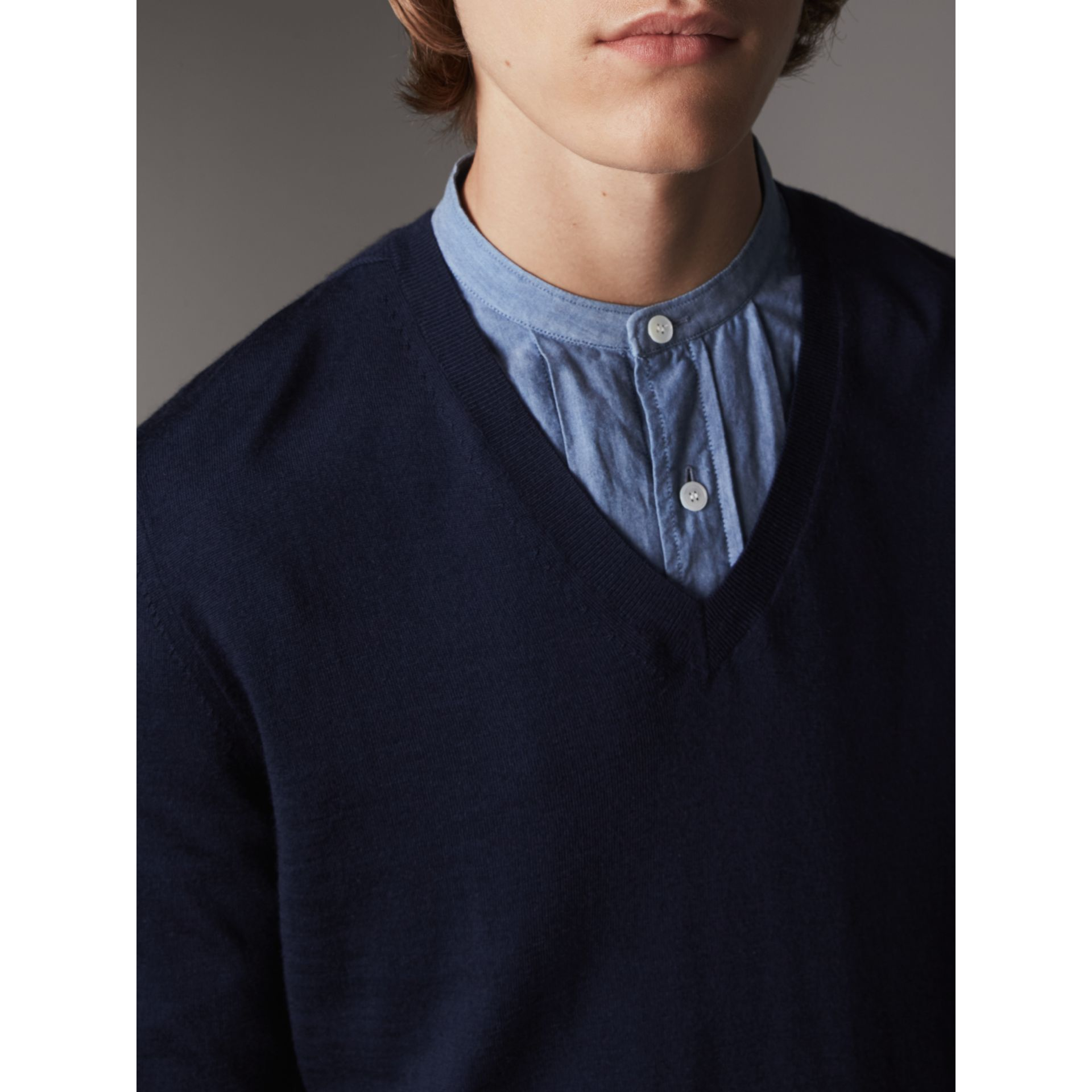 Merino Wool V-neck Sweater in Navy - Men | Burberry Singapore - gallery image 2