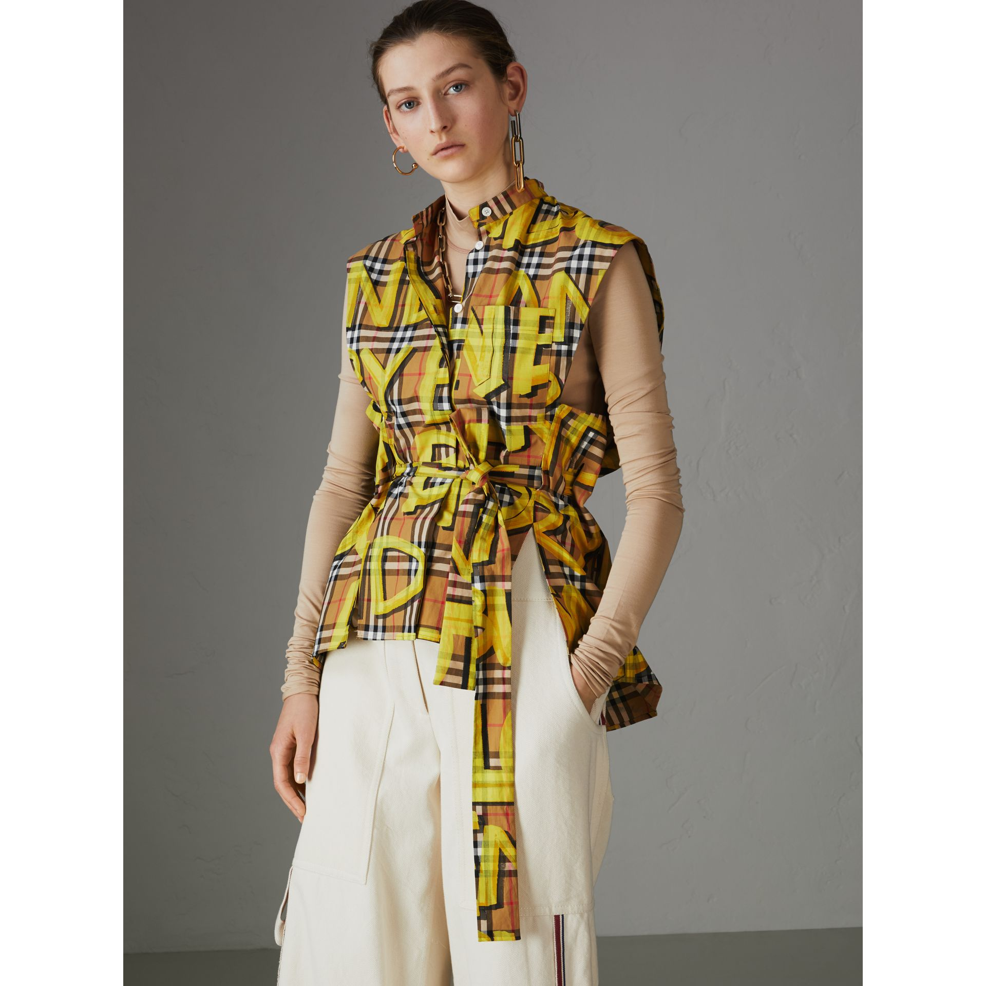 Sleeveless Graffiti Print Vintage Check Cotton Shirt in Bright Yellow - Women | Burberry Singapore - gallery image 4