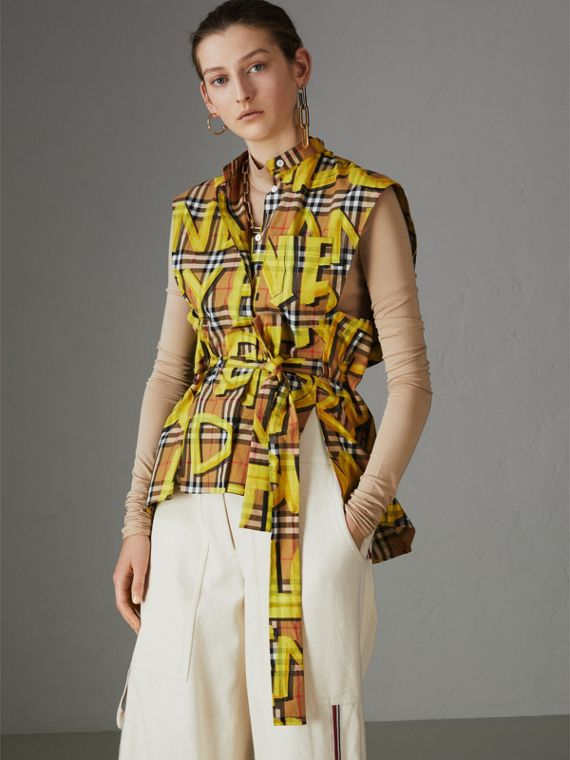 Sleeveless Graffiti Print Vintage Check Cotton Shirt in Bright Yellow