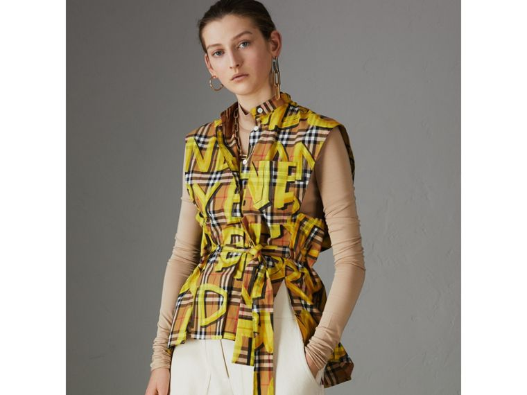 Sleeveless Graffiti Print Vintage Check Cotton Shirt in Bright Yellow - Women | Burberry - cell image 4