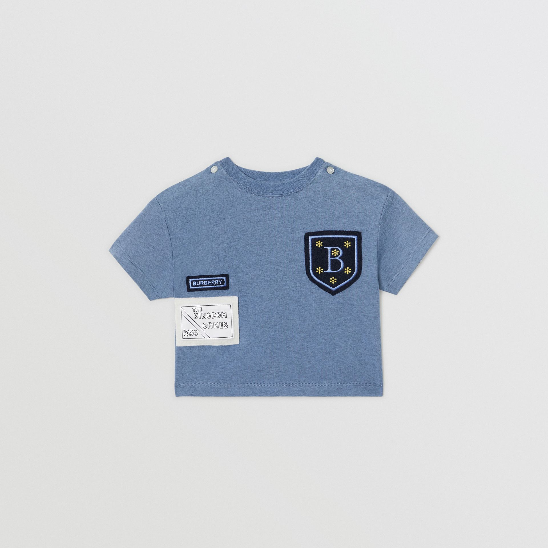 Logo Montage Cotton T-shirt in Dusty Blue - Children | Burberry - gallery image 0
