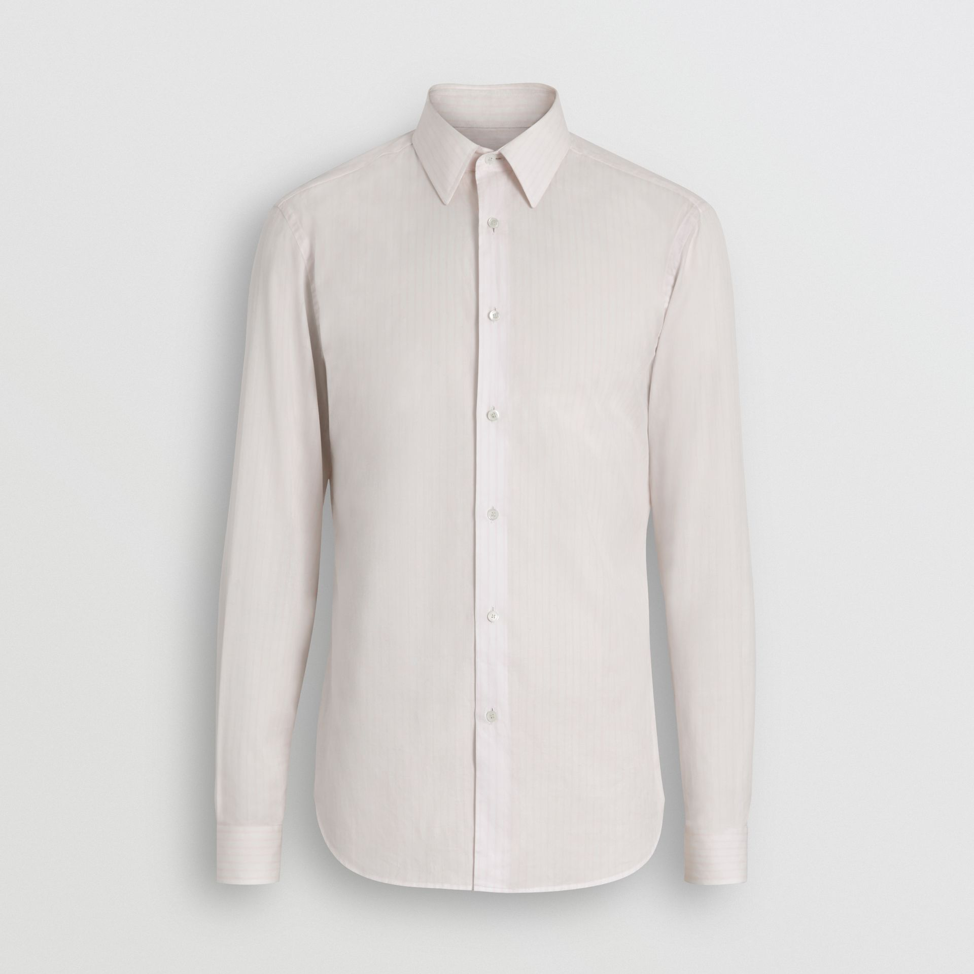 Slim Fit Striped Cotton Poplin Dress Shirt in City Pink - Men | Burberry - gallery image 3
