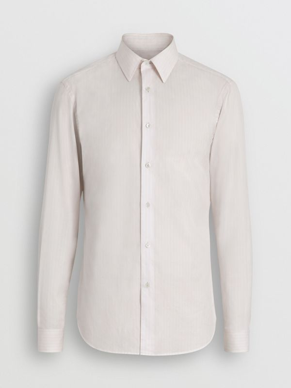 Slim Fit Striped Cotton Poplin Dress Shirt in City Pink - Men | Burberry - cell image 3