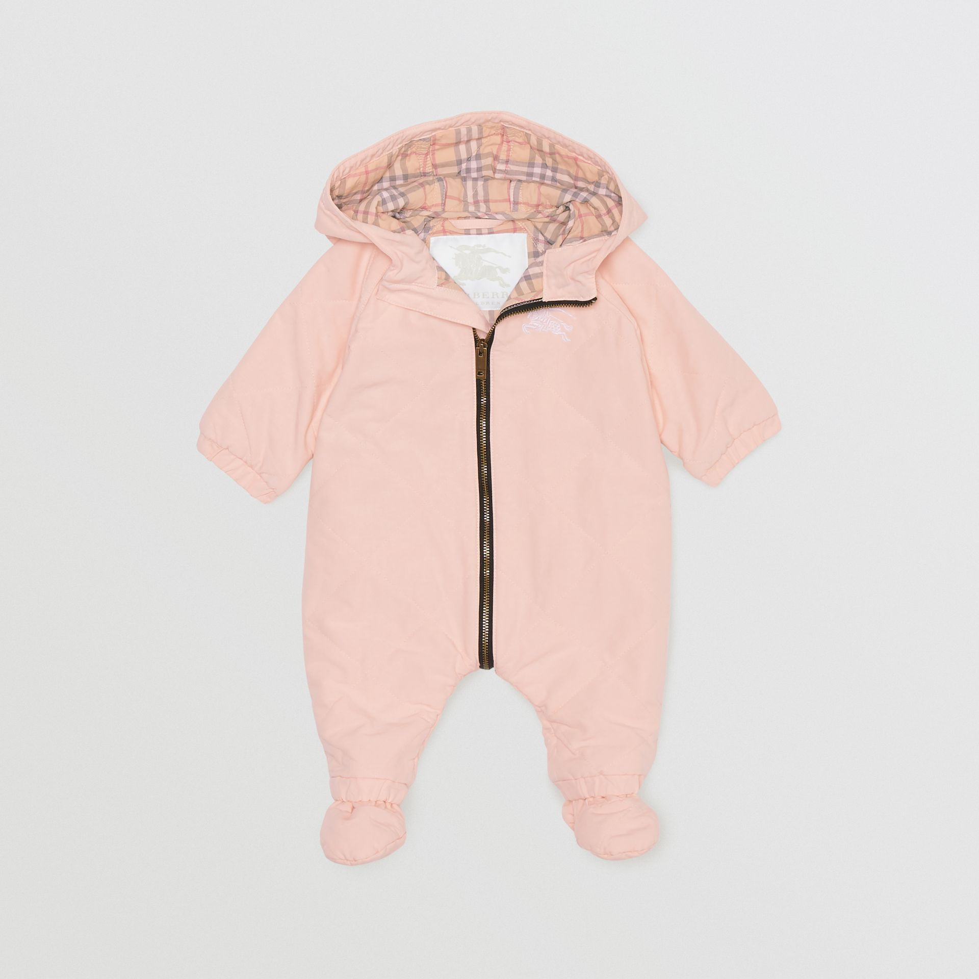 Diamond Quilted Cotton All-in-One in Dusty Pink - Children | Burberry - gallery image 0