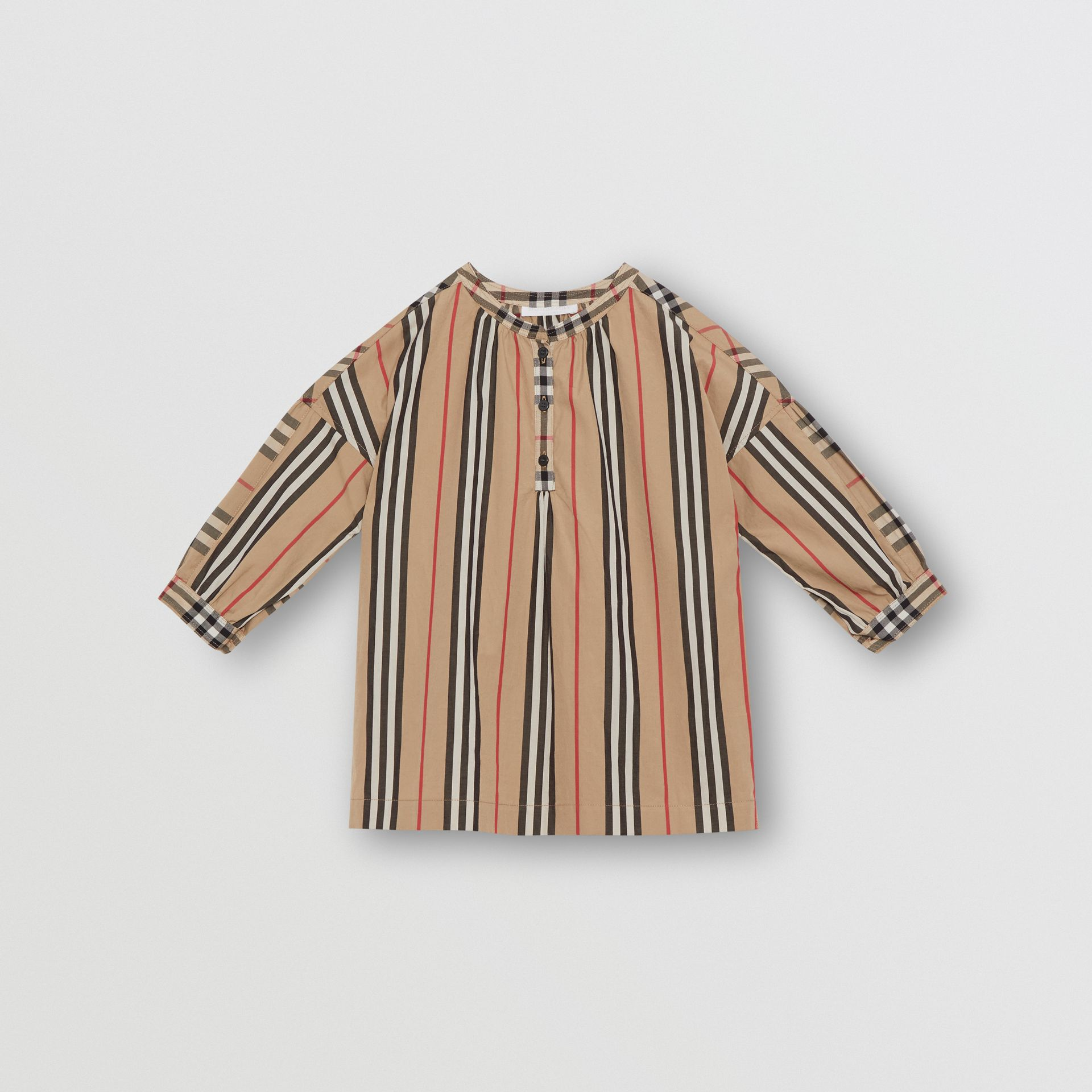 Icon Stripe and Vintage Check Cotton Blouse in Archive Beige | Burberry Australia - gallery image 0