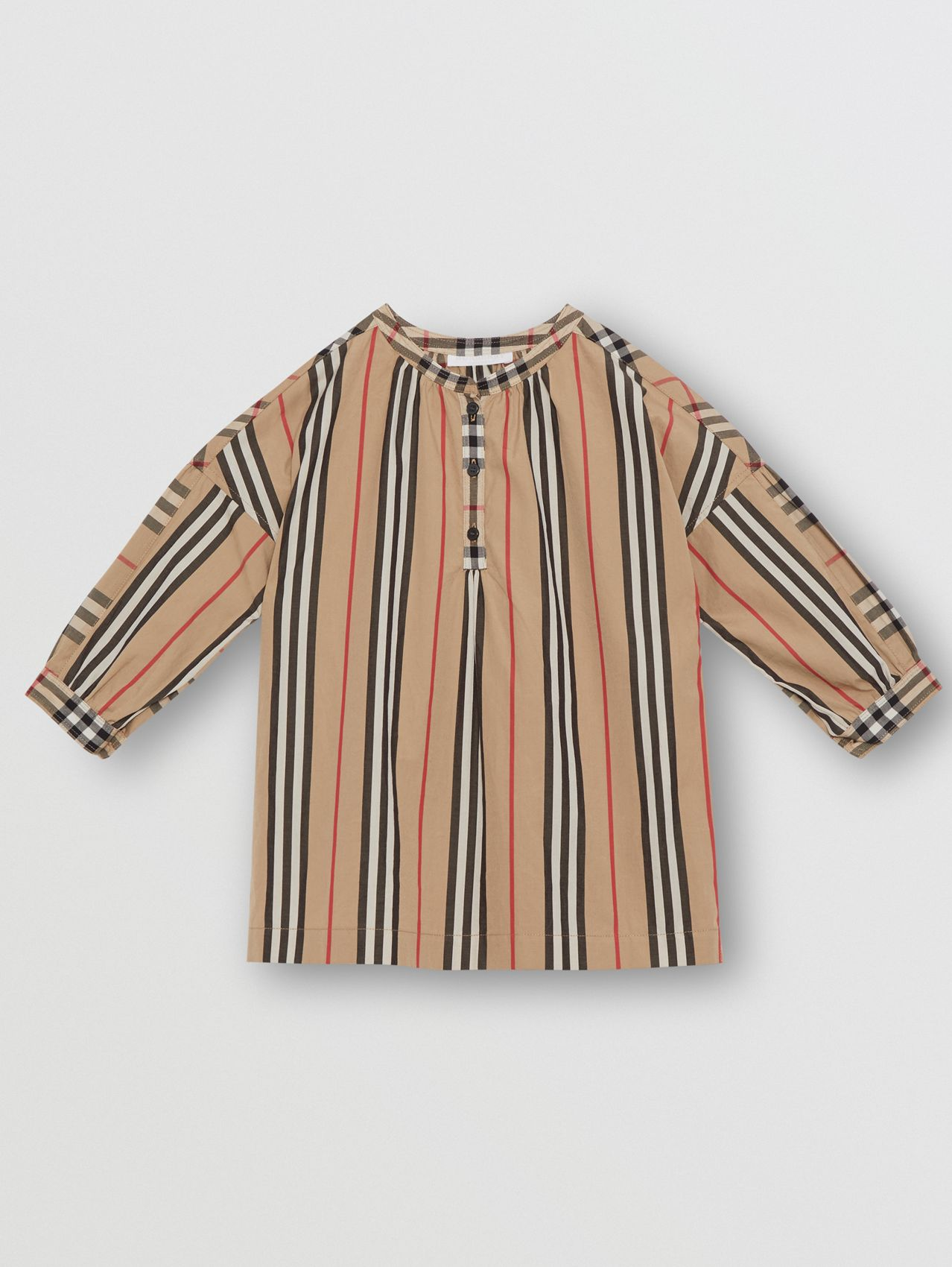 Icon Stripe and Vintage Check Cotton Blouse in Archive Beige