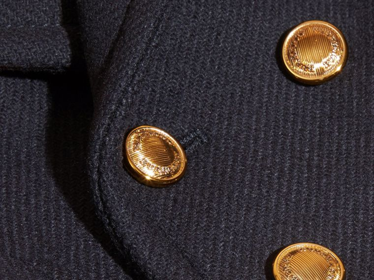 Navy Wool Cashmere Blend Pea Coat - cell image 1