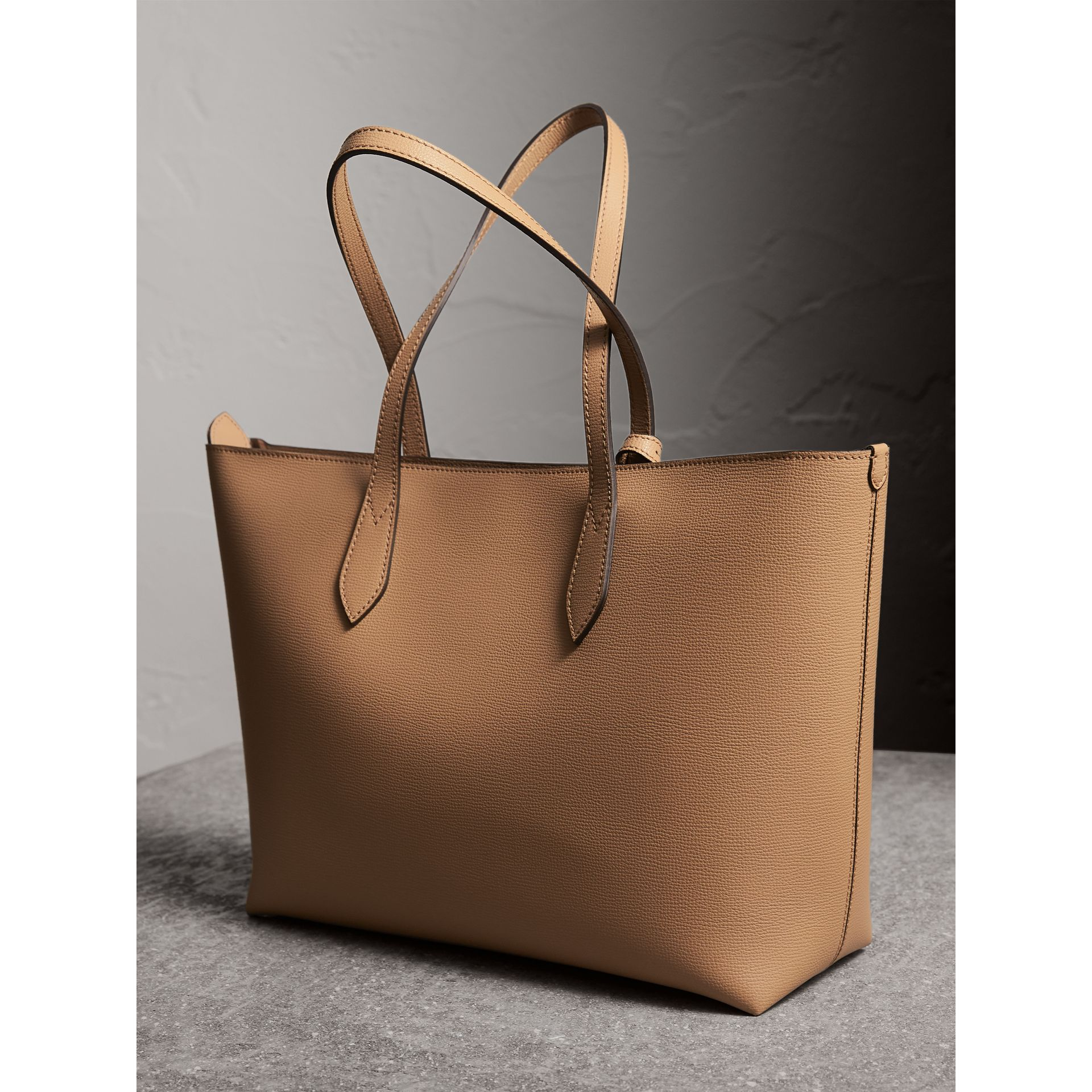 Medium Coated Leather Tote in Mid Camel - Women | Burberry Australia - gallery image 4