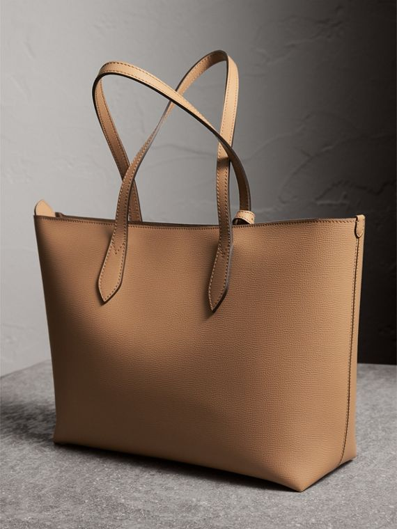Medium Coated Leather Tote in Mid Camel - Women | Burberry Australia - cell image 3