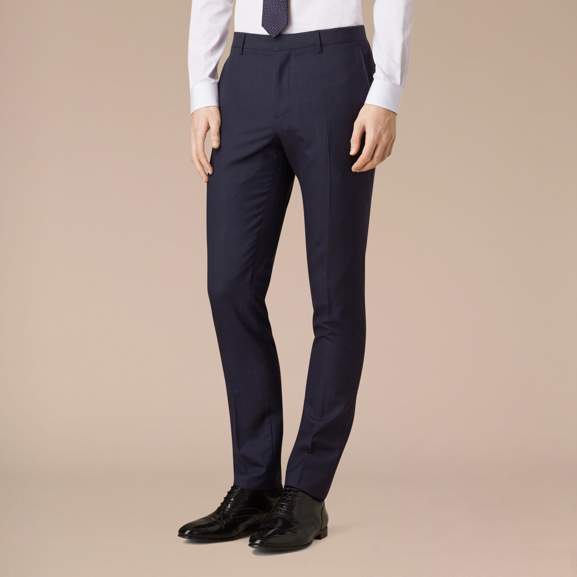 Navy Slim Fit Check Wool Part-canvas Suit - gallery image 5