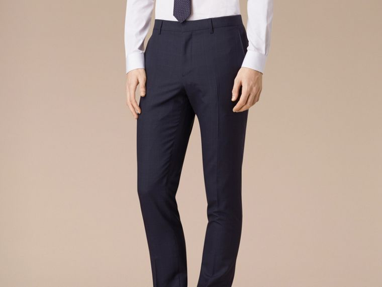 Navy Slim Fit Check Wool Part-canvas Suit - cell image 4