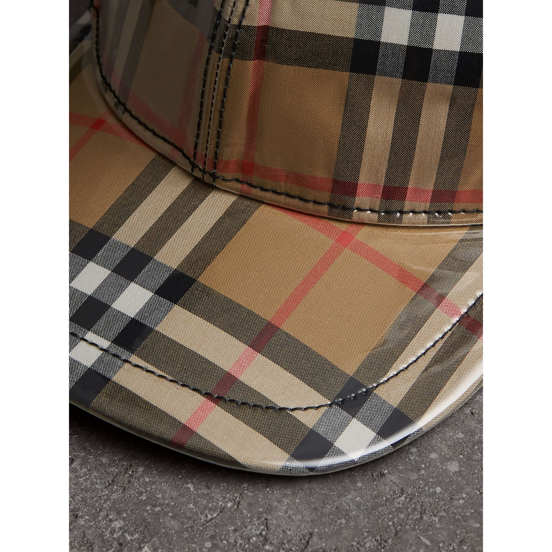 Laminated Vintage Check Baseball Cap in Antique Yellow | Burberry Australia - gallery image 1