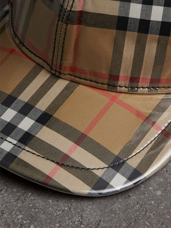Laminated Vintage Check Baseball Cap in Antique Yellow | Burberry United States - cell image 1