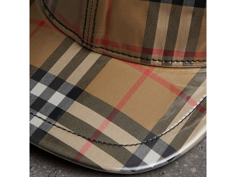 Laminated Vintage Check Baseball Cap in Antique Yellow | Burberry Australia - cell image 1