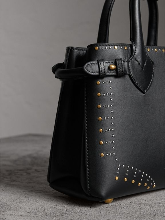 The Small Banner in Riveted Leather in Black - Women | Burberry - cell image 1