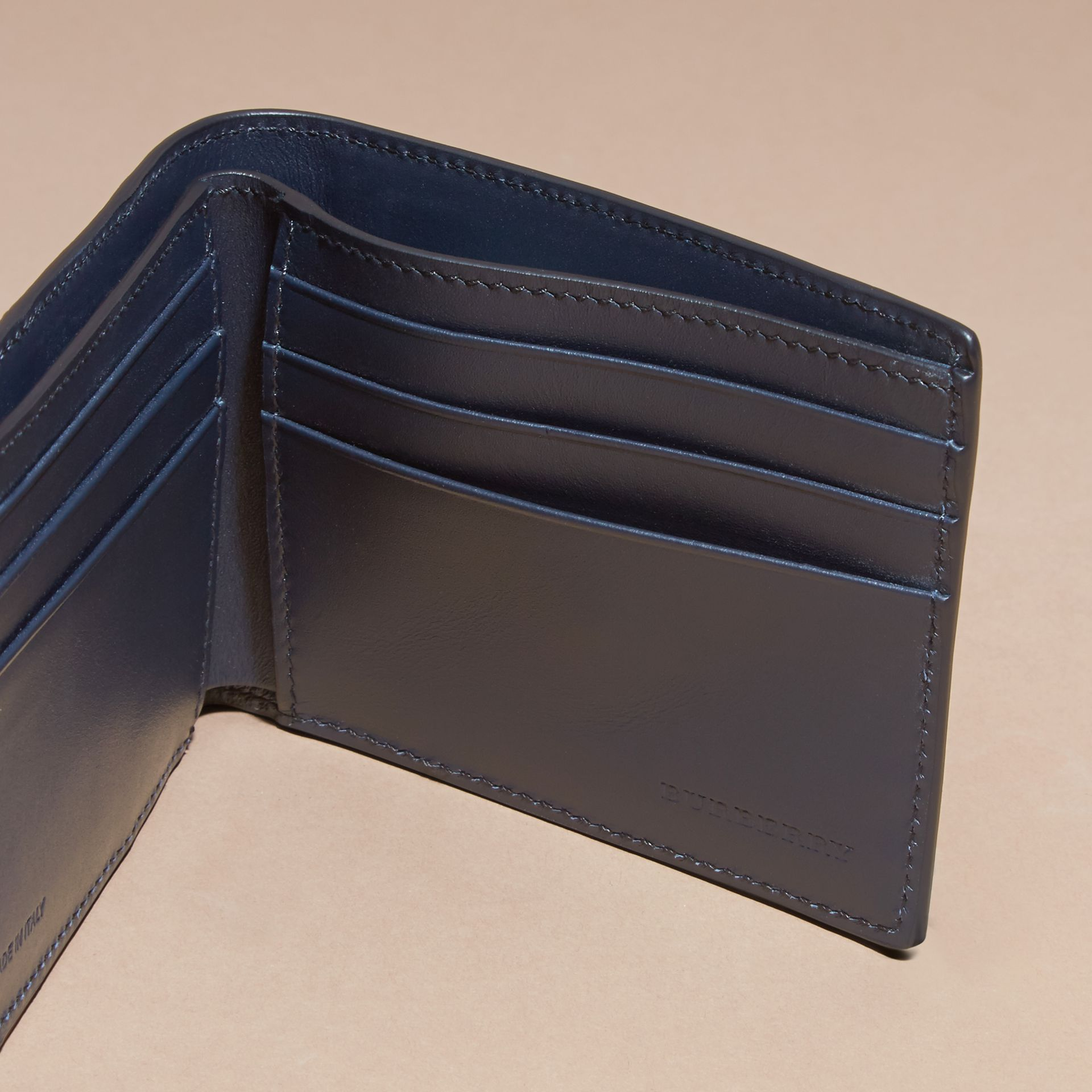 Dark navy Colour Block London Leather Folding Wallet Dark Navy - gallery image 5