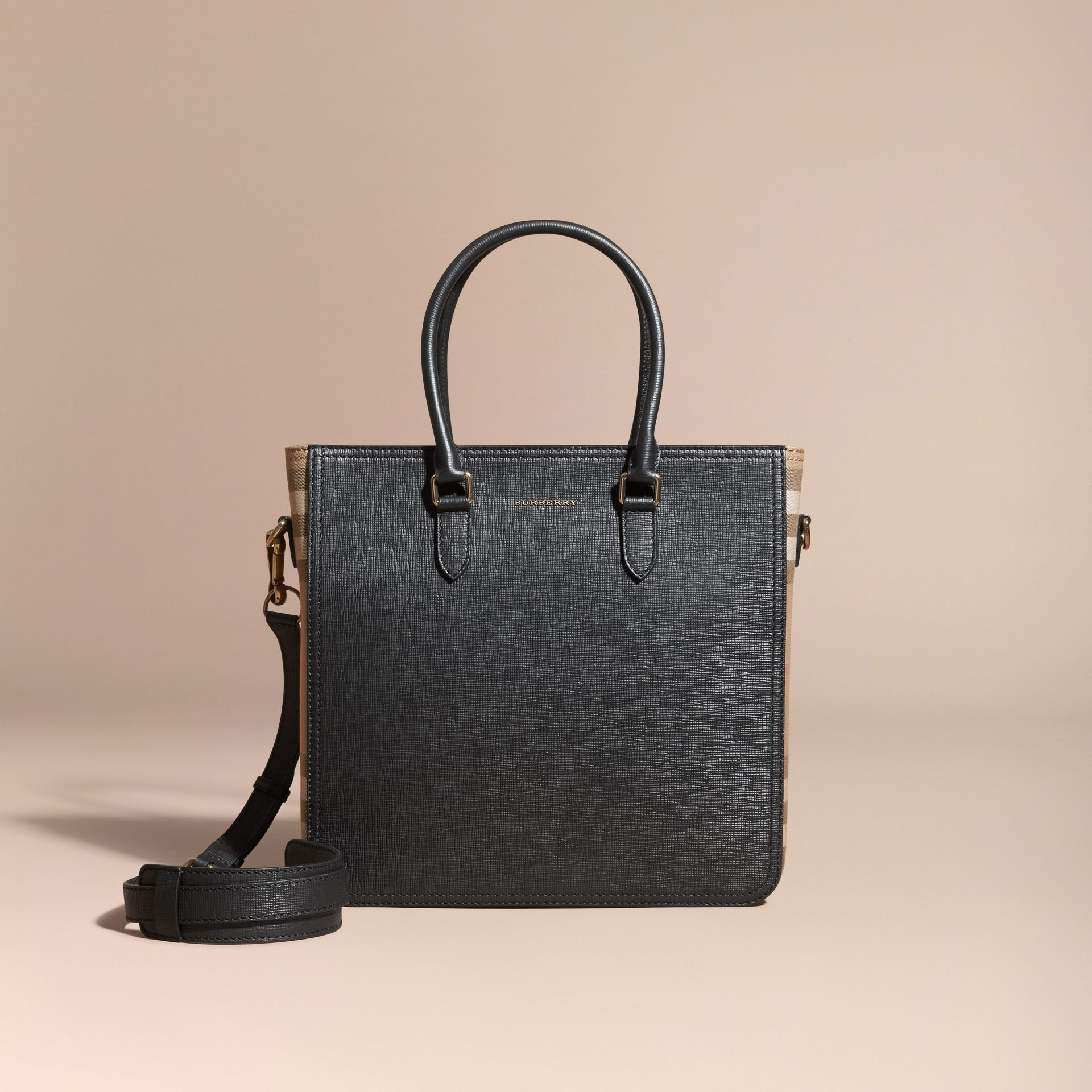 Black London Leather and House Check Tote Bag - gallery image 9