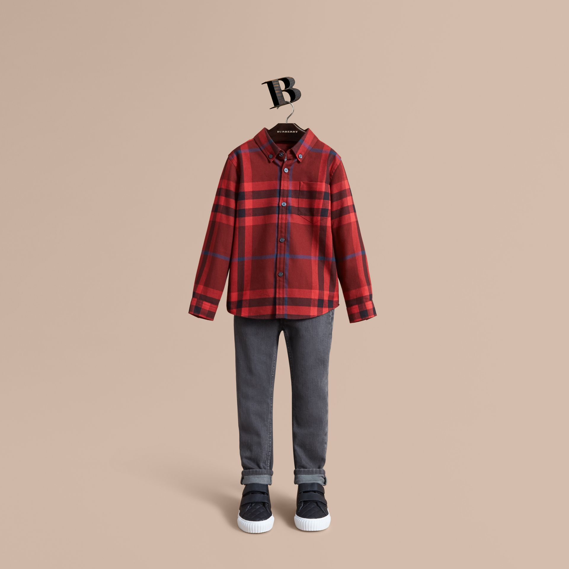 Check Cotton Flannel Button-Down Shirt in Mahogany Red - Boy | Burberry - gallery image 0