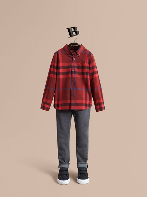 Check Cotton Flannel Button-Down Shirt in Mahogany Red