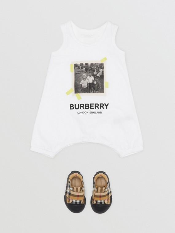 Vintage Photo Print Cotton Bodysuit in White