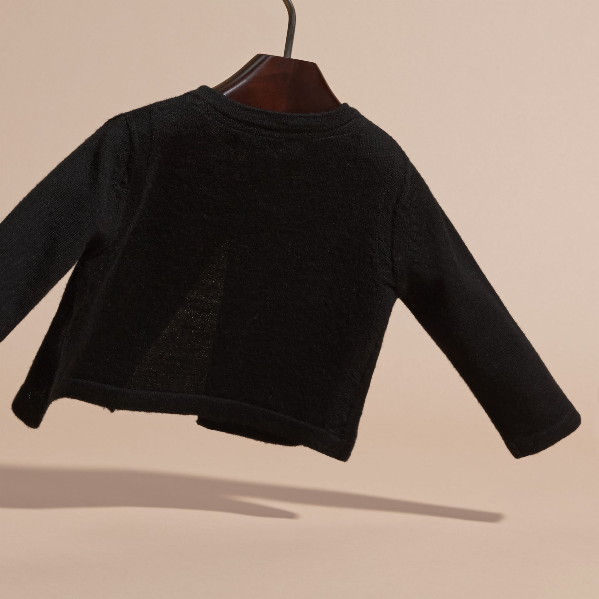 Black Lightweight Merino Wool Cardigan Black - gallery image 4