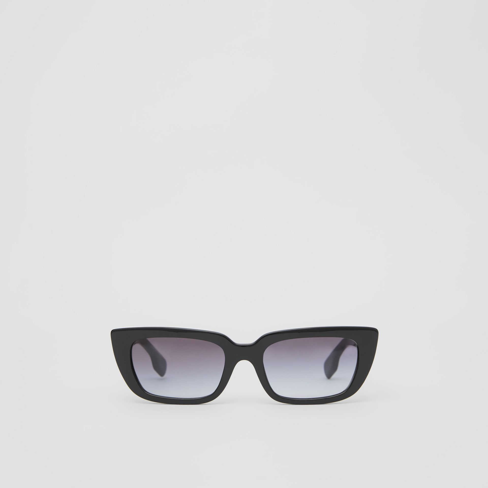 Bio-acetate Rectangular Frame Sunglasses in Black - Women | Burberry Australia - gallery image 0