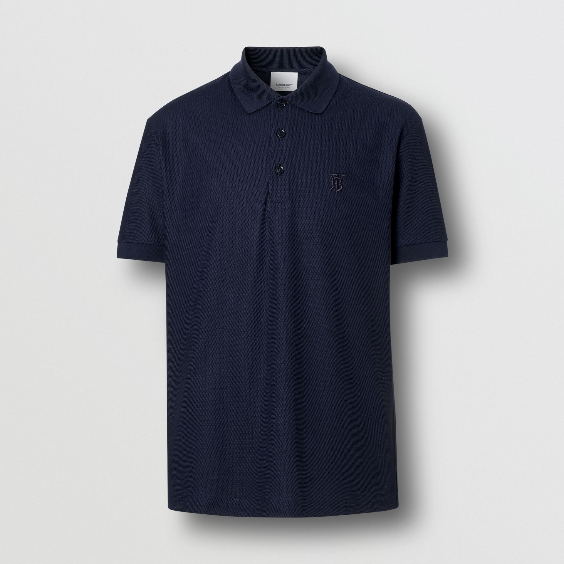 Monogram Motif Cotton Piqué Polo Shirt in Navy - Men | Burberry Canada - gallery image 3