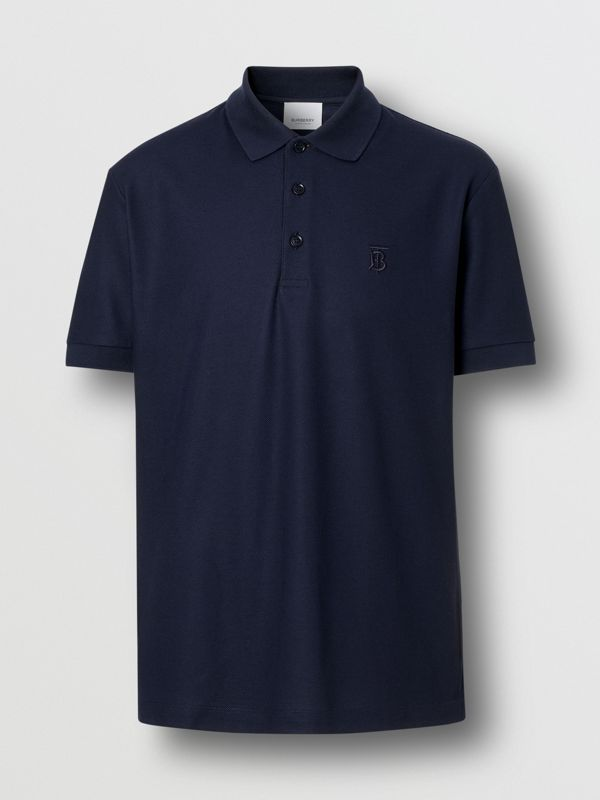 Monogram Motif Cotton Piqué Polo Shirt in Navy - Men | Burberry - cell image 3