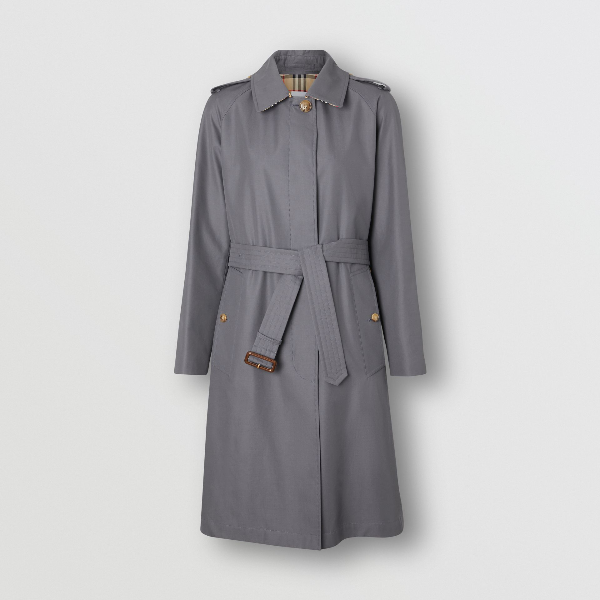 Cotton Gabardine Belted Car Coat in Mid Grey - Women | Burberry Canada - gallery image 3